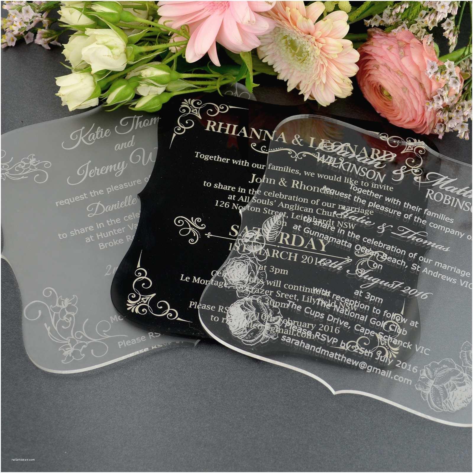 Engraved Wedding Invitations C6 Engraved Acrylic Wedding Invitations with Rounded Edges