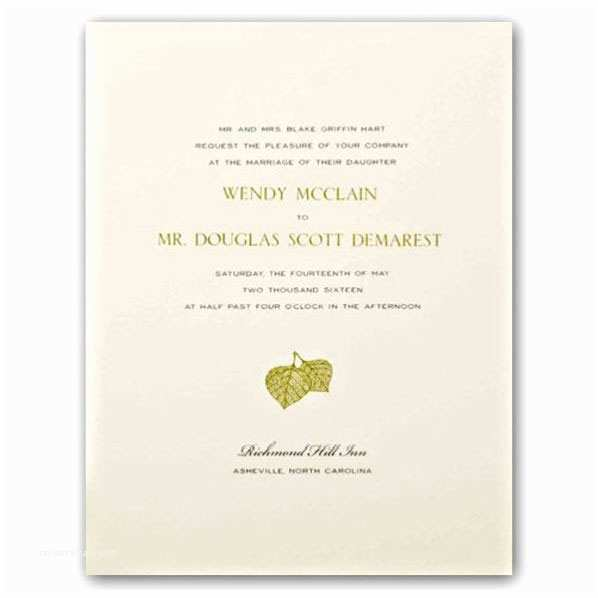 Engraved Wedding  Cost Aspen Leaves Ecru Engraved Embassy Wedding