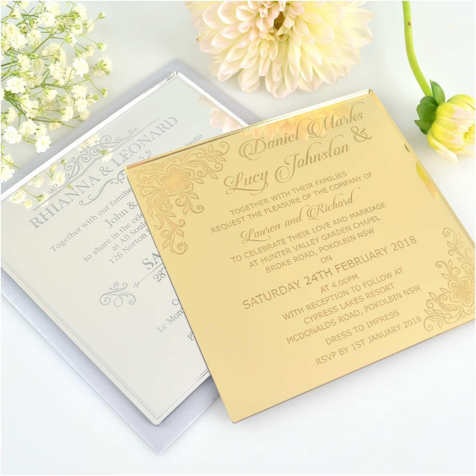 Engraved Wedding Invitations Engraved Square Mirror Acrylic Wedding Invitations