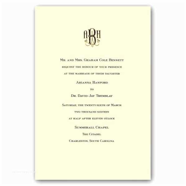 Engraved Wedding Invitations Mongrammed Ecruwhite Engraved Royalty Wedding Invitations