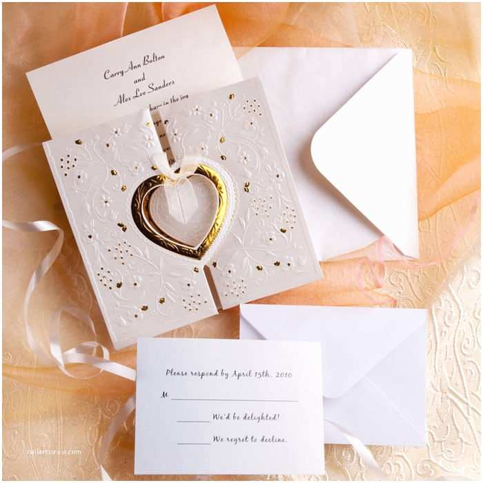Engraved Wedding Invitations Unique and Elegant Hearts Embossed Affordable Folded