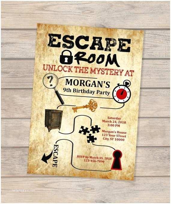 Escape Room Party Invitation Escape Room Birthday Invitation Escape theme Invitation