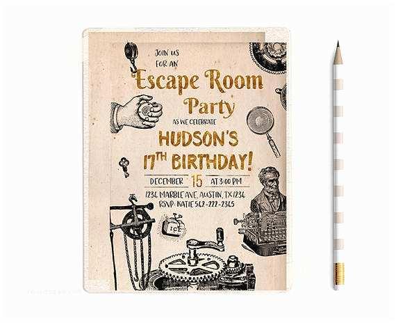 Escape  Party Invitation Escape  Invitations Escape  Party Escape