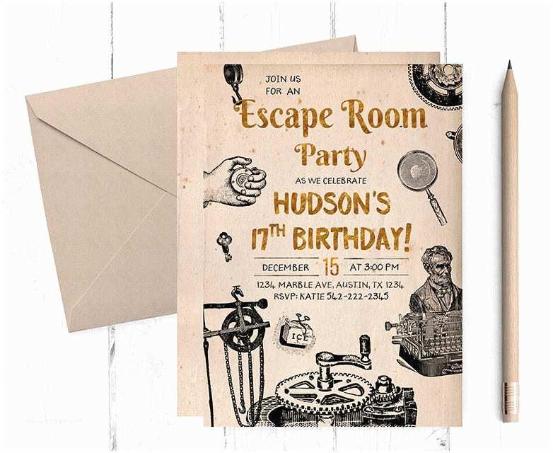 Escape Room Party Invitation Escape Room Invitations Escape Room Party Escape Room