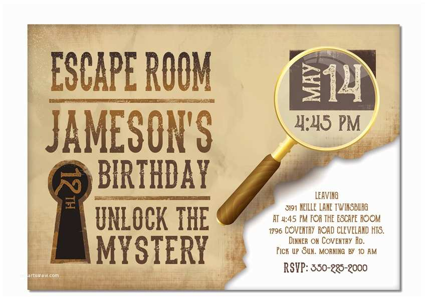 Escape Room Party Invitation Escape Room Invite Boys Or Girls Birthday Invitation