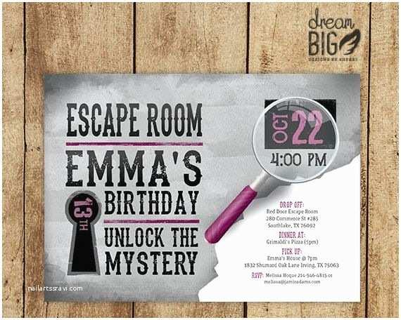 Escape Room Party Invitation Escape Room Invite Gray Girls Or Boys Birthday
