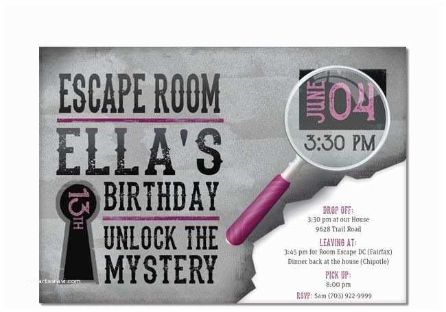 Escape Room Party Invitation Escape Room Invite Plus Thank You Card Option Girls or