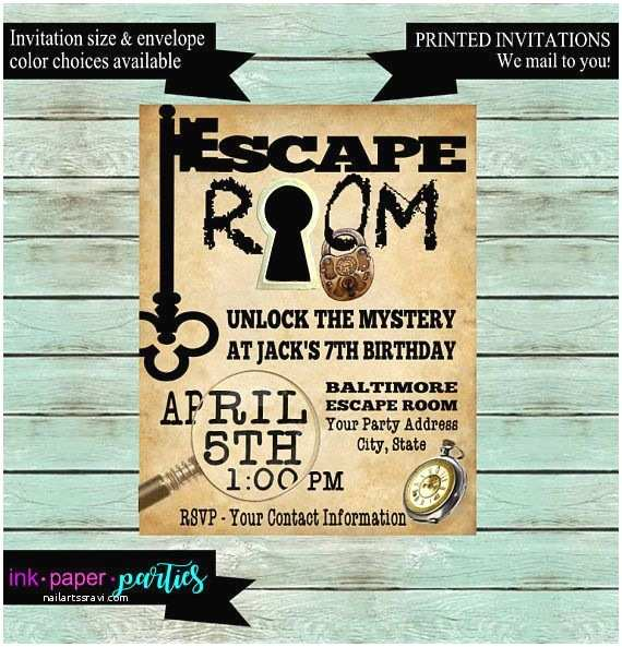 Escape Room Party Invitation Escape Room Mystery Puzzle Birthday Party