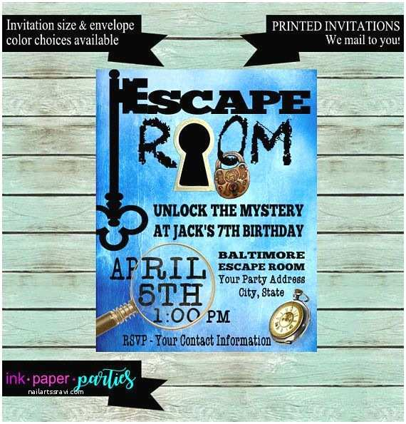 Escape Room Party Invitation Escape Room Mystery Puzzle Blue Birthday Party