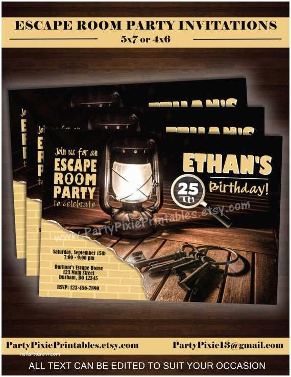 Escape Room Party Invitation Escape Room Party Invitations 5x7 4x6 Printable