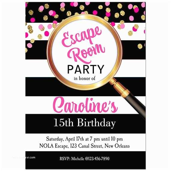 Escape Room Party Invitation Girl S Escape Room Party Invitation Printable Or