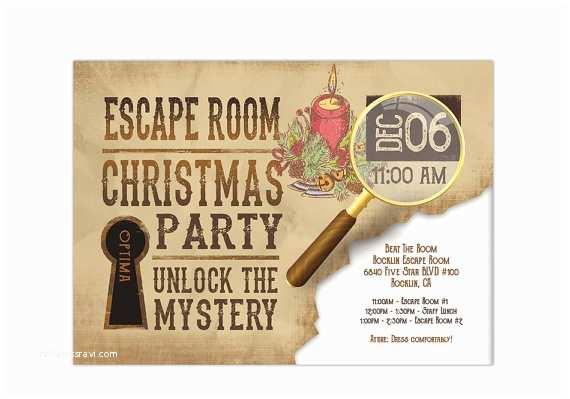 Escape Room Party Invitation Holiday Escape Room Invite Printable Digital Pdf and Jpeg