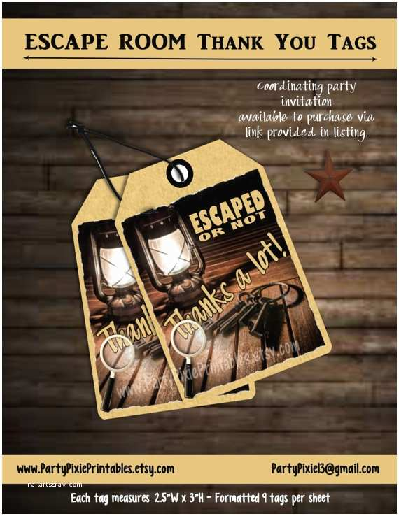 Escape Room Party Invitation Instant Download Escape Room Party Favor Thank You