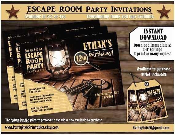 Escape Room Party Invitation Instant Download Escape Room Party Invitations 5x7 4x6