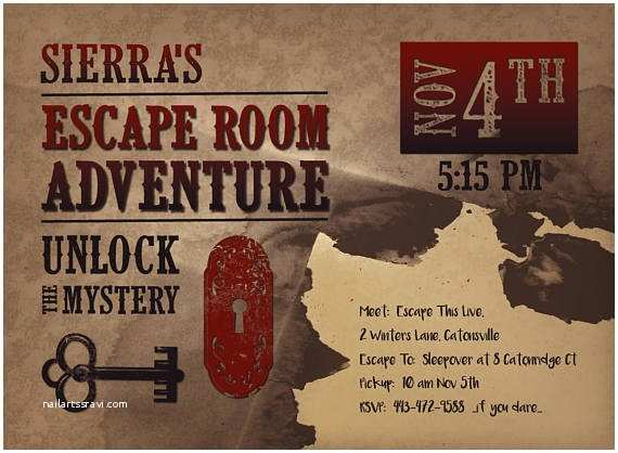 Escape Room Party Invitation Printable Escape Room Party Invite Western Escape Room