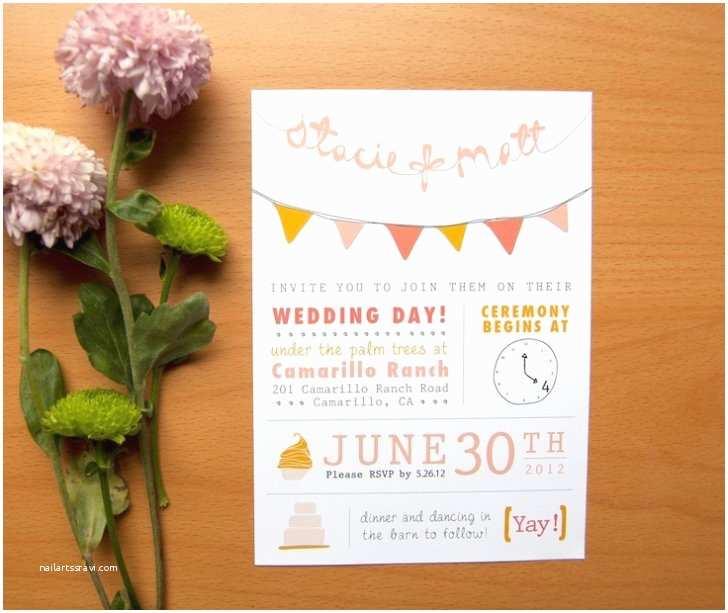 Etsy Diy Wedding Invitations Diy Casual Style Wedding Invitation with Bunting Pennant