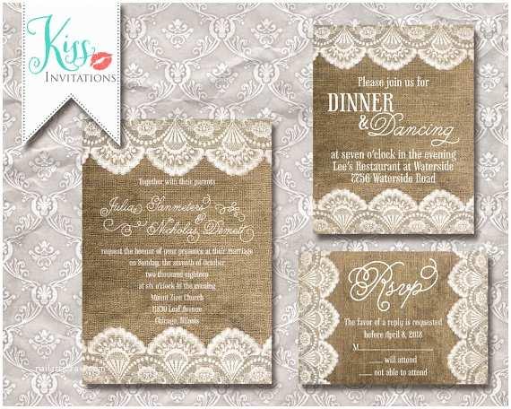 Etsy Diy Wedding Invitations Items Similar to Printable Wedding Invitation Burlap and