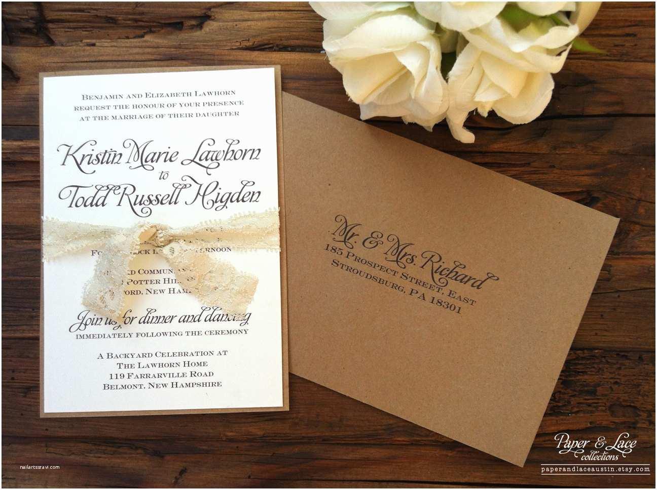 Etsy Diy Wedding Invitations Rustic Wedding Invitation Kraft & Lace