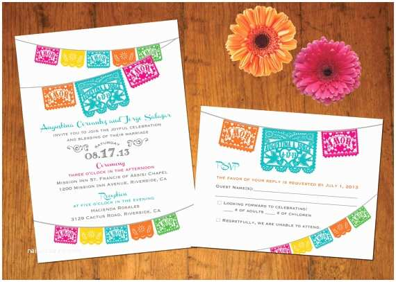Etsy Papel Picado Wedding Invitations