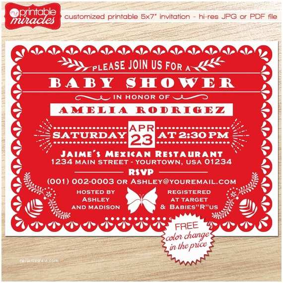 Etsy Papel Picado Wedding Invitations Printable Papel Picado Invitation Card Red Baby Shower
