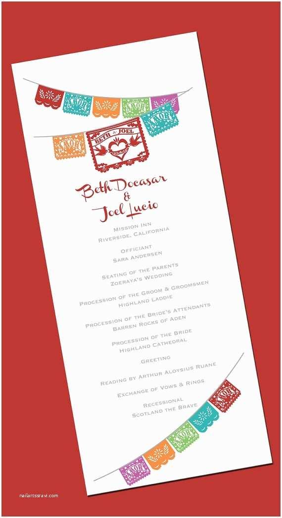 Etsy Papel Picado Wedding Invitations Printable Wedding Program Papel Picado Invitation Love