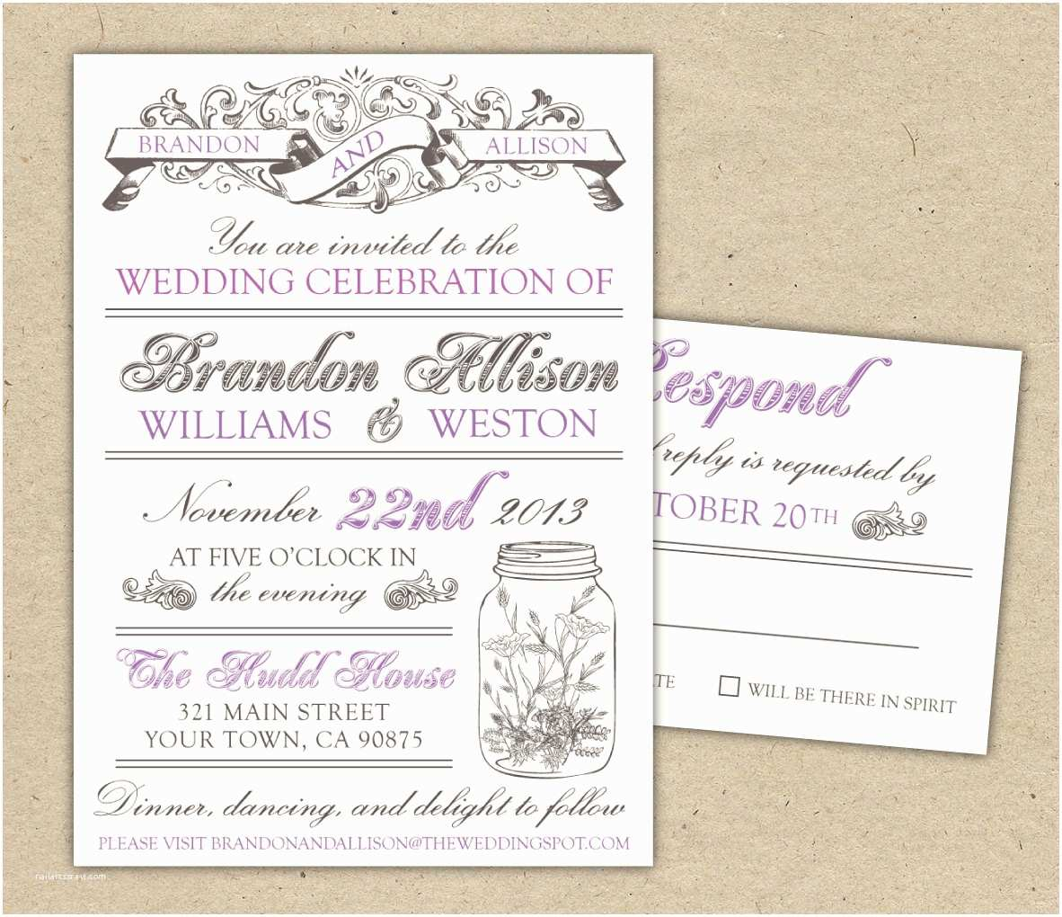 vintage wedding invitation diy printable