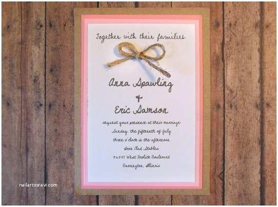 Etsy Rustic Wedding Invitations Items Similar to Diy Pink Rustic Wedding Invitation Kit