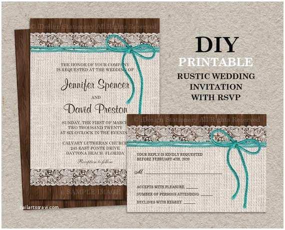 Etsy Rustic Wedding Invitations Printable Rustic Wedding Invitation with Rsvp Card Burlap