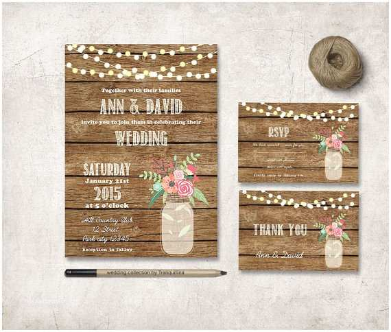 Etsy Rustic Wedding Invitations Rustic Wedding Invitation Digital File Diy by Tranquillina