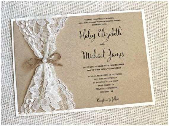 Etsy Rustic Wedding Invitations Rustic Wedding Invitation Lace Wedding by Loveofcreating