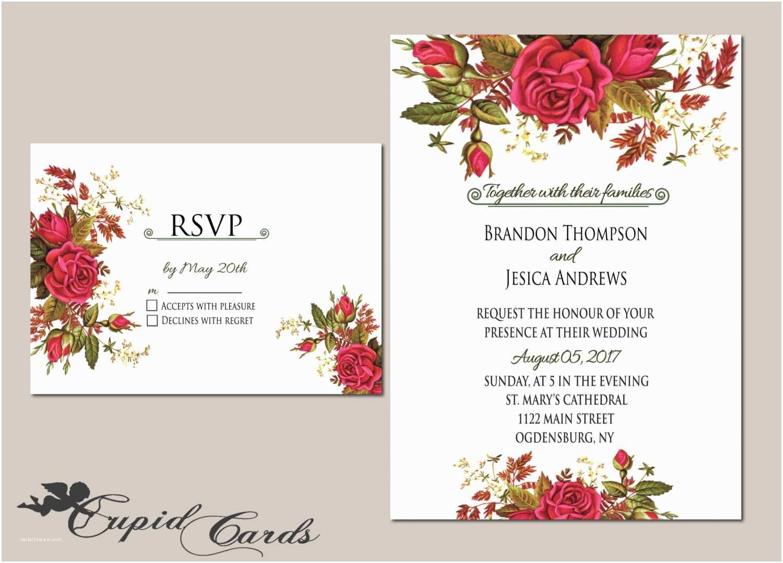 Etsy Wedding Invitation Template Floral Wedding Invitation Template Editable by Cupidcards