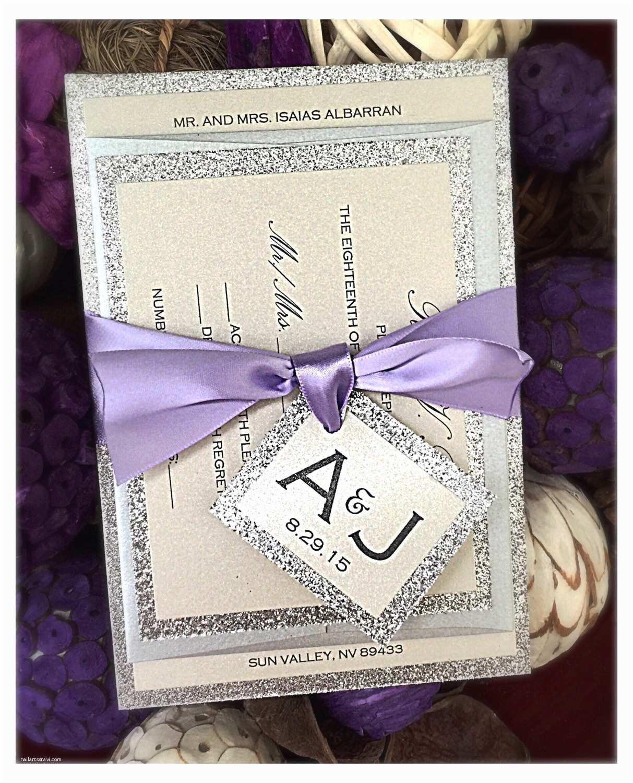 plum and silver wedding invitations lilac invitations etsy