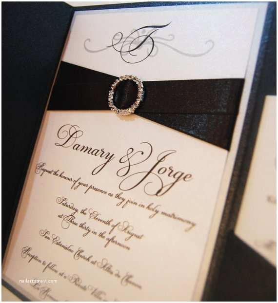 Etsy Wedding Invitations Pocketfold Wedding Invitations Rhinestone Buckle by Anaderoux