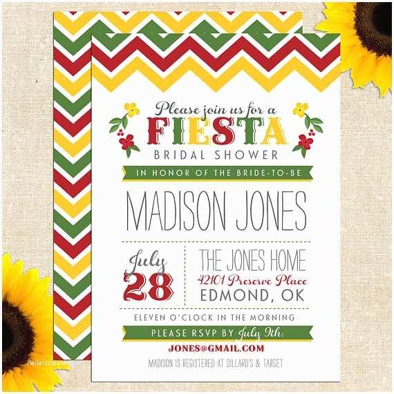 Etsy Wedding Shower Invitations Fiesta Bridal Shower Invitation Printed by Yellowbrickgraphics