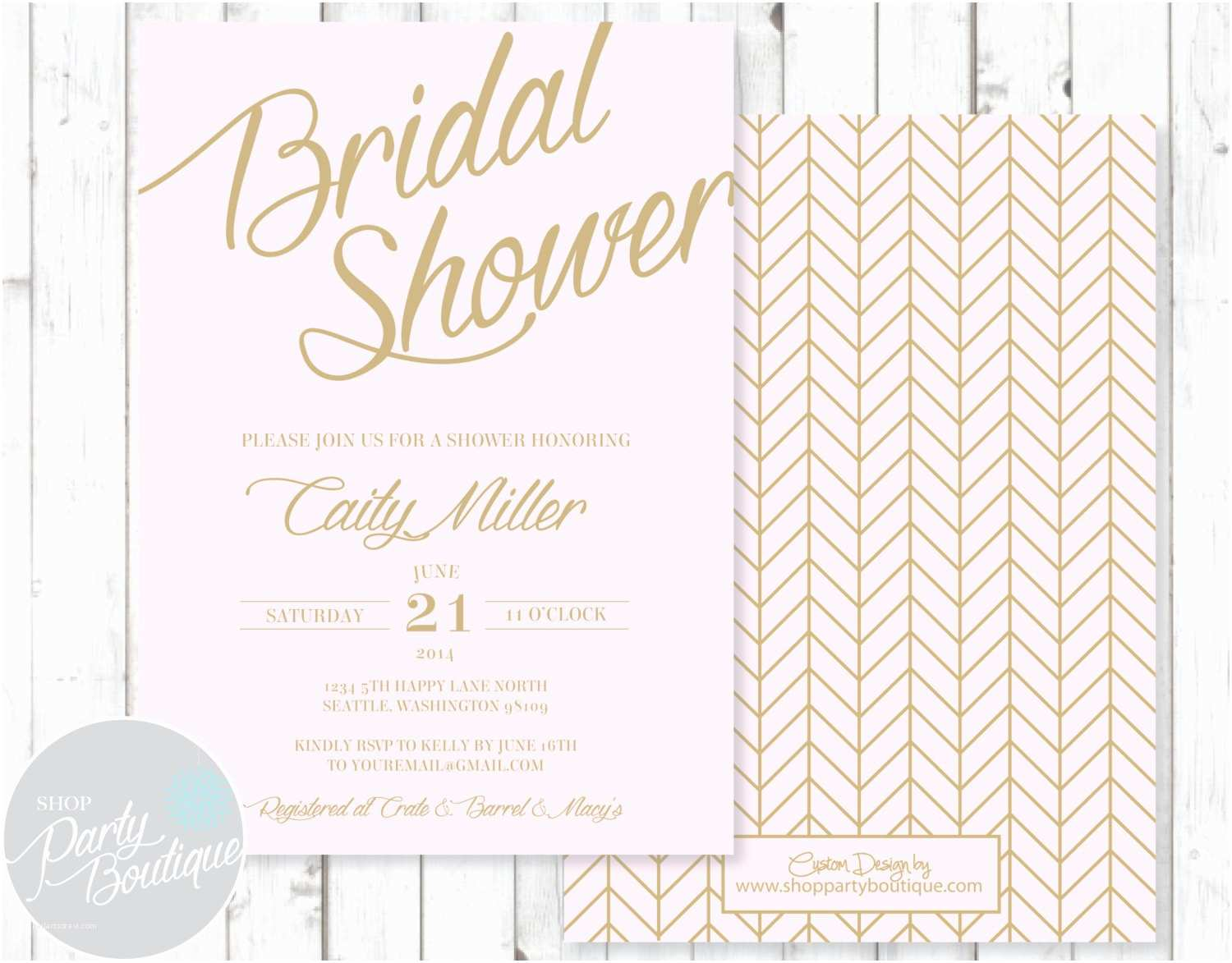 Etsy Wedding Shower Invitations Pink & Gold Bridal Shower Invitations by Shoppartyboutique