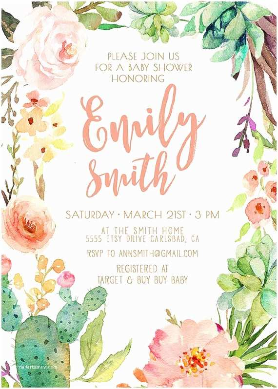 Etsy Wedding Shower S Watercolor Cactus And Flower