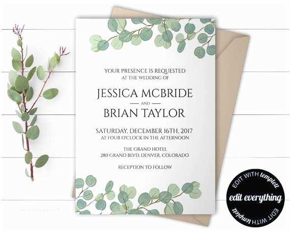 Eucalyptus Wedding Invitations Eucalyptus Greenery Wedding Invitation Template Eucalyptus