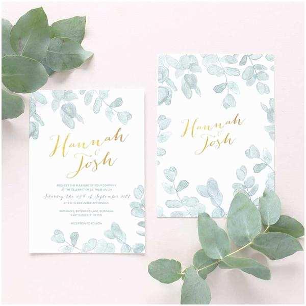 Eucalyptus Wedding Invitations Eucalyptus Leaves Wedding Invitation – Blush and Gold