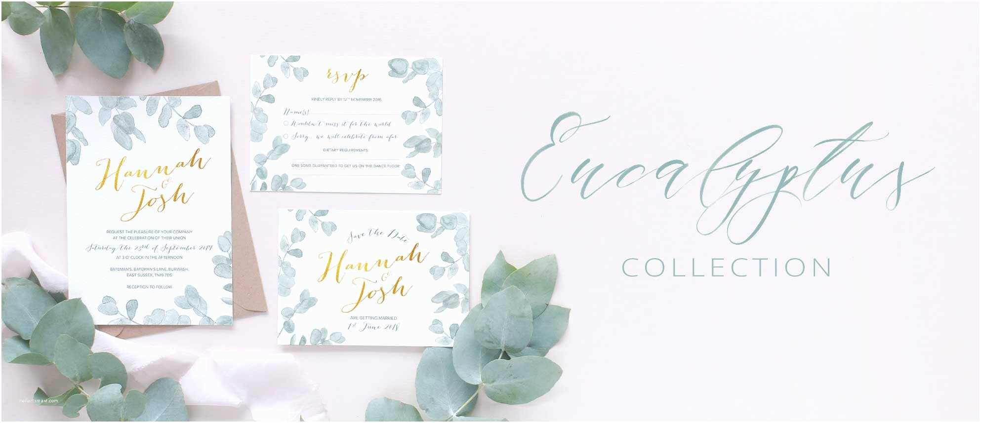 Eucalyptus Wedding Invitations Eucalyptus Leaves Wedding Invitation Collection – Blush