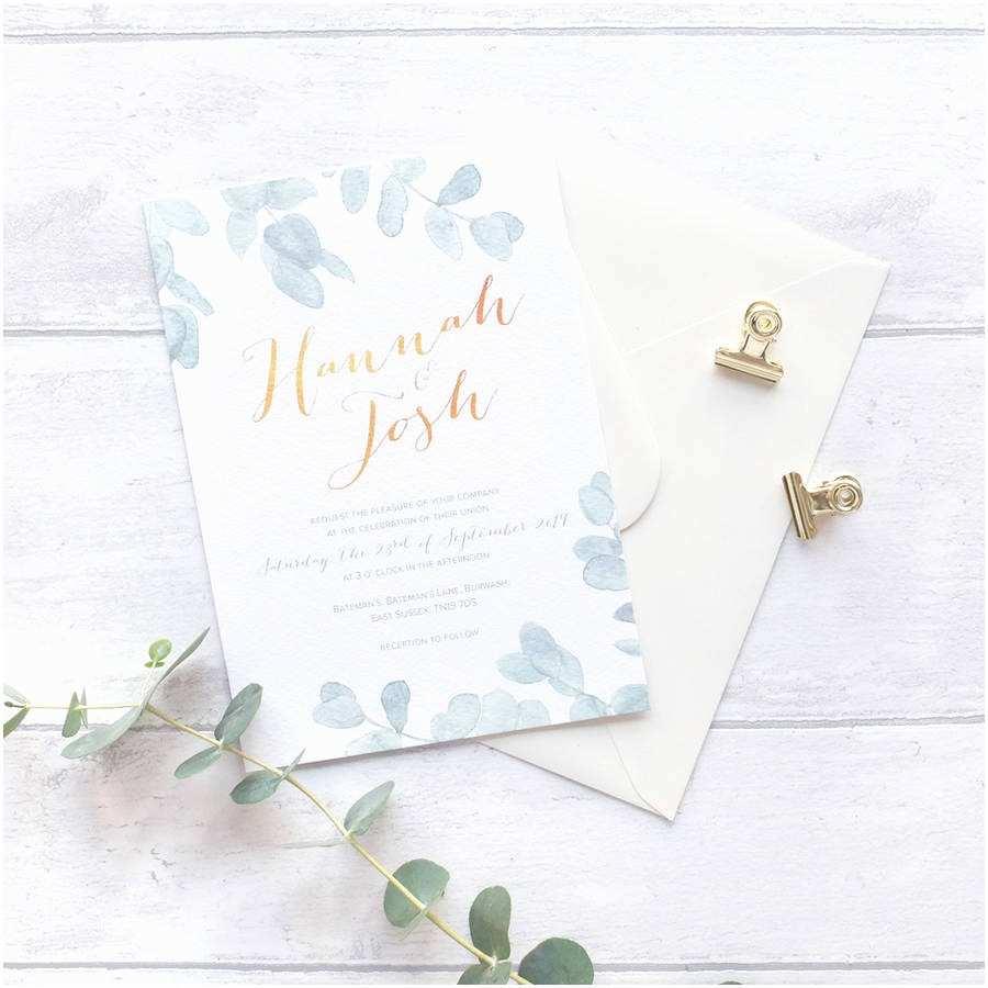 Eucalyptus Wedding Invitations Eucalyptus Muted Green Wedding Invitation Set by Blush and