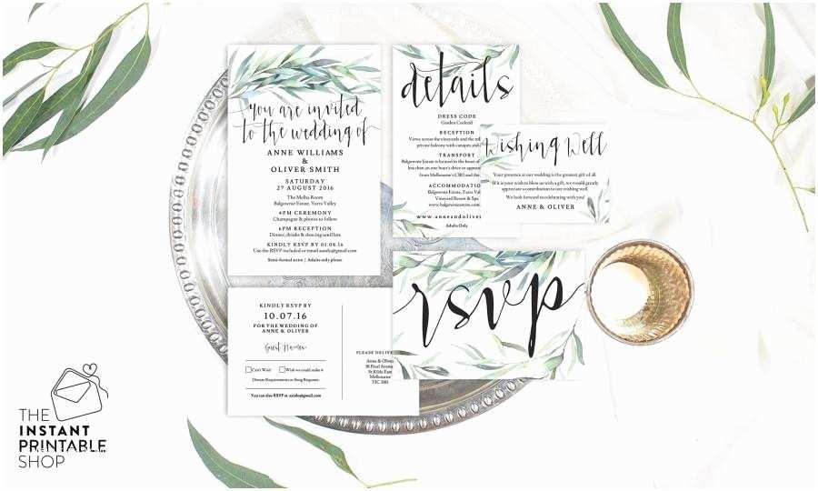 Eucalyptus Wedding Invitations Eucalyptus Wedding Invitation Set Watercolour Wedding
