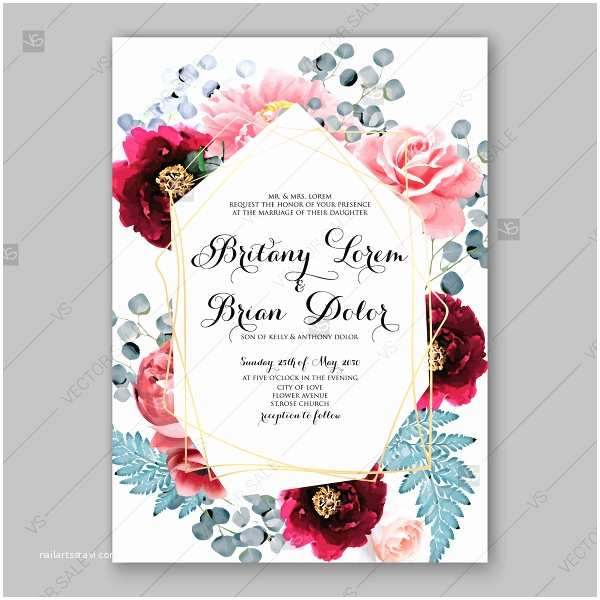 pink peony maroon ranunculus anemone rose fern eucalyptus floral wedding invitation vector card template holiday