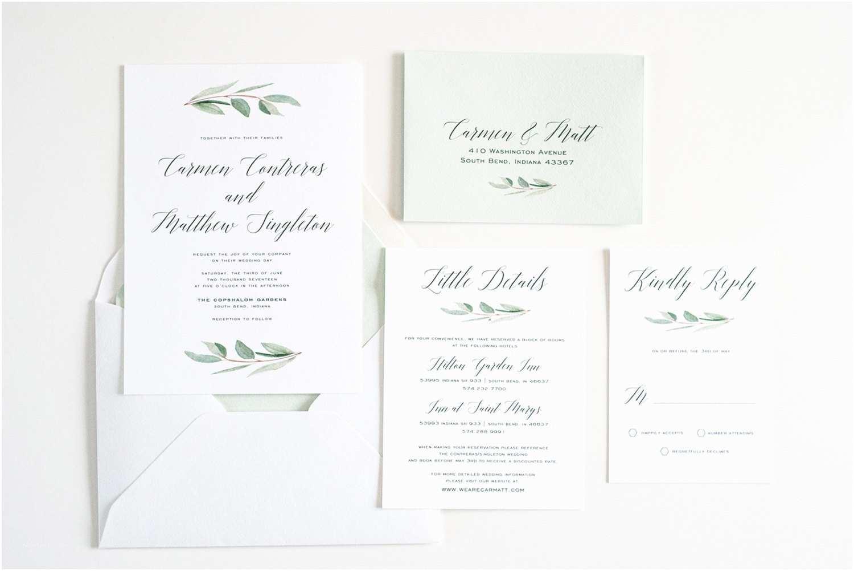 Eucalyptus Wedding Invitations Wedding Invitation Greenery Eucalyptus Simple Calligraphy