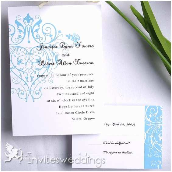 Exclusive Wedding Invitations Exclusive Innocent Ice Blue Wedding Invitation Iwi111