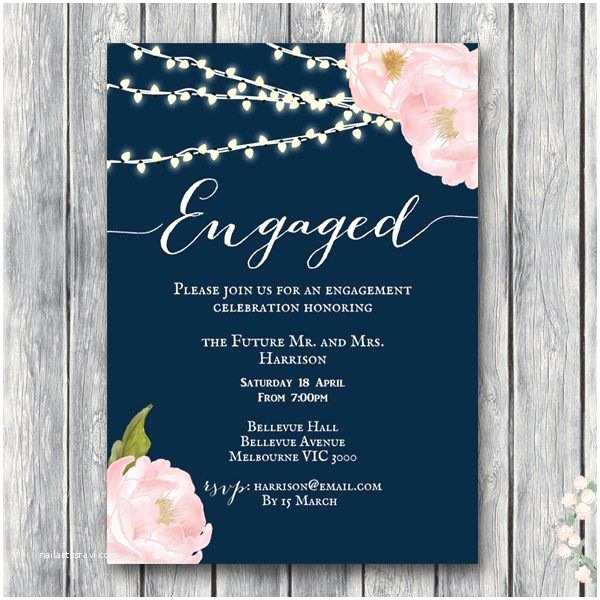 Facebook Party Invite Custom Peonies Night Strings Engagement Invitation Wd65b