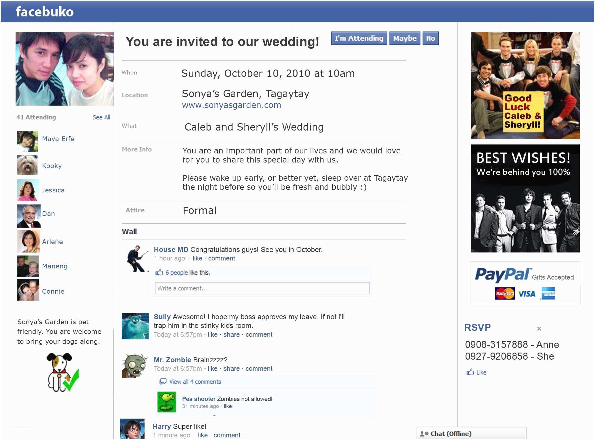Facebook Wedding Invitation My Unique Wedding Hooray