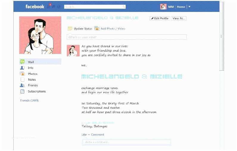 Facebook Wedding Invitation Wink M M Wedding Invitation Supplier
