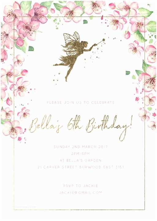 Fairy Birthday Invitations Birthday Party Invitations Independent Designs Printed