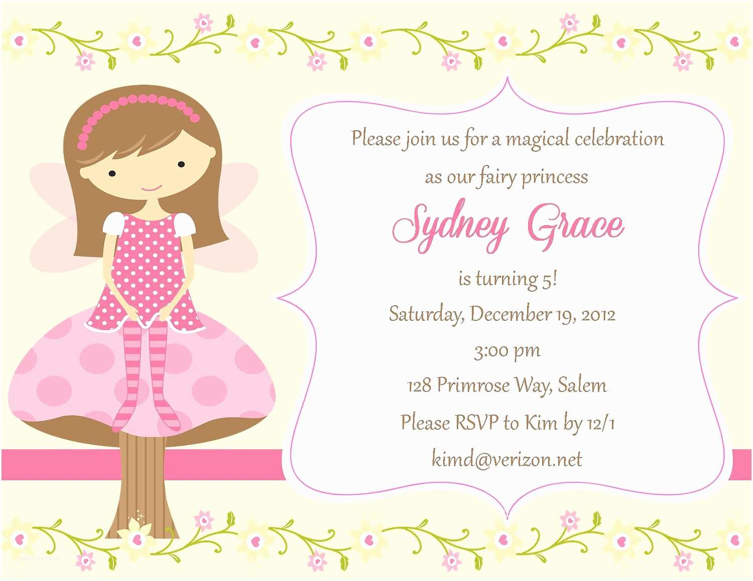 Fairy Birthday Invitations Fairy Birthday Invitation Digital File
