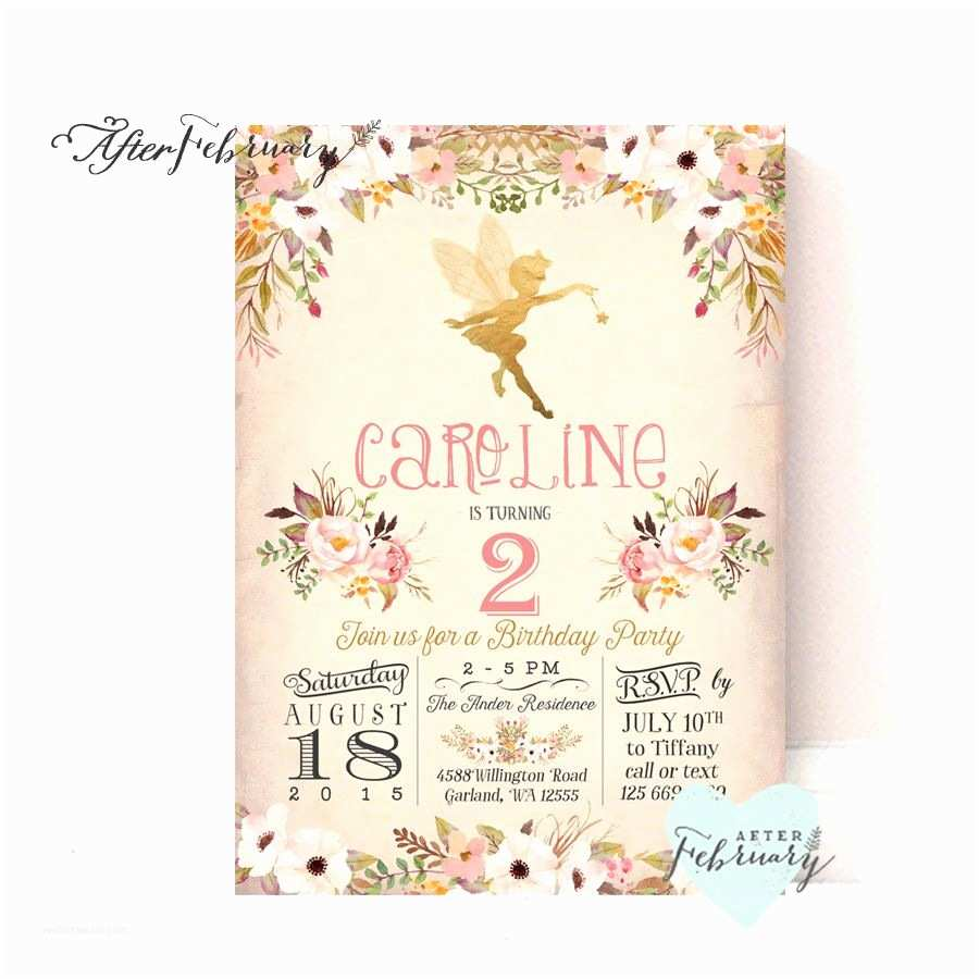 Fairy Birthday Invitations Fairy Birthday Invitation Fairy Birthday Party Watercolor